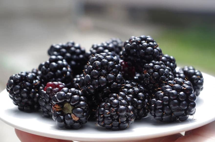 blackberries on a plate black fruit meal fresh